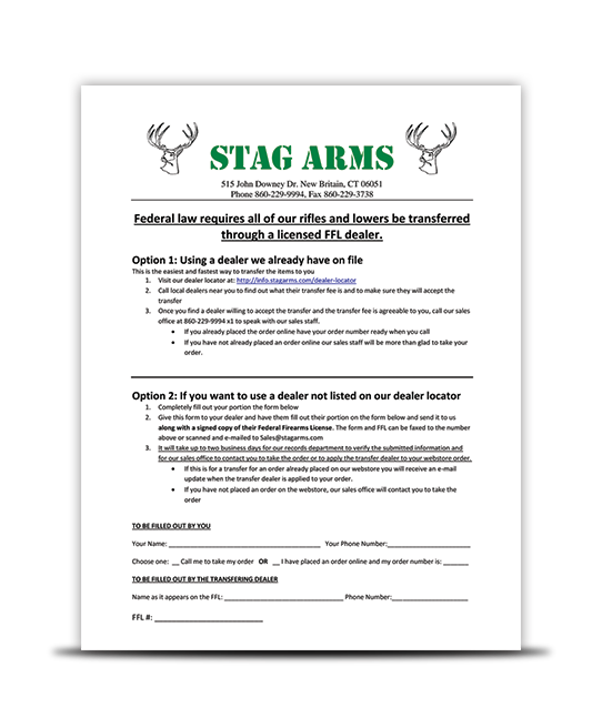 Stag Arms Transfer Procedure
